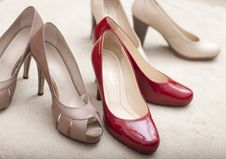 Free Three Pairs Of Woman S Shoes Royalty Free Stock Image - 25632106