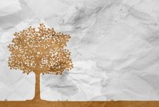 Free Tree On White Wrinkle Paper Royalty Free Stock Image - 25633646