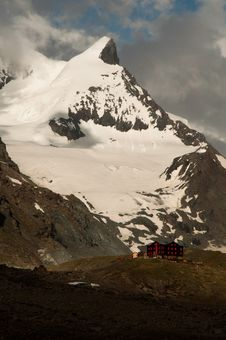 Fluhalp Mountain Hut Royalty Free Stock Photos