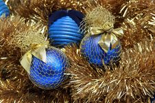 Blue Christmas Balls On A Tinsel Stock Photos