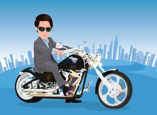 Free Businessman Riding A Chopper Royalty Free Stock Photos - 25639398