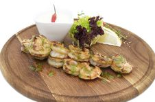 Skewers Of Shrimp Royalty Free Stock Photo