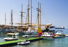 Marina With Moored Yachts, Eilat, Israel Stock Photos