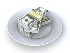 Money On The Plate Royalty Free Stock Image