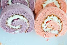 Free Strawberry And Taro Swiss Roll Stock Image - 25652901