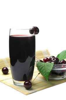 Free Juice With Fresh Cherries Royalty Free Stock Photo - 25654705