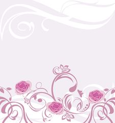 Free Ornamental Background With Pink Roses Stock Images - 25656804