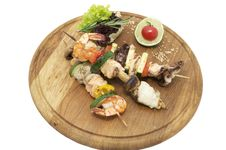 Free Skewers Of Seafood Royalty Free Stock Image - 25658376