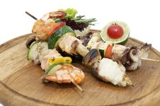 Free Skewers Of Seafood Royalty Free Stock Images - 25658749