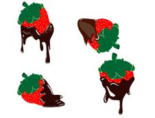 Free Strawberry Dripping With Fondue Chocolate Royalty Free Stock Photos - 25660738