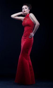 Free Graceful Woman In Modern Long Dress Posing Stock Images - 25661694
