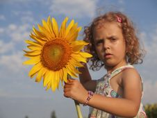 Free Girl With Sunflower Royalty Free Stock Images - 25661889