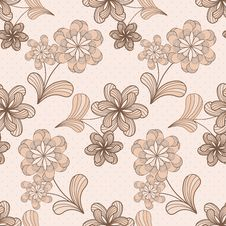 Vector Seamless Pattern With Flowers Royalty Free Stock Photography