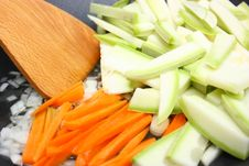 Cut Vegetables In Frying Pan Stock Photo
