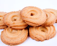 Free Cookies On White Background Royalty Free Stock Photography - 25662697