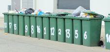 Row Of Large Green Bins Stock Photo
