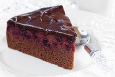 Free Chocolate Blackcurrant Cake Royalty Free Stock Photos - 25664848