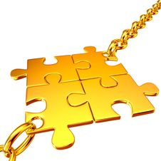 Free Gold Chains With The Collected Puzzles Stock Photos - 25665893