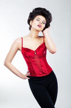 Free Slim Dreamy Graceful Woman - Brignt Make-up Stock Photo - 25669360