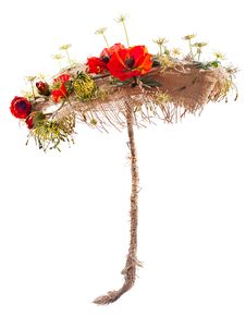 Free Umbrella Of Burlap And Artificial Flowers Poppy Stock Photography - 25674982