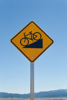 Free Bike Downhill Sign Royalty Free Stock Photos - 25677428