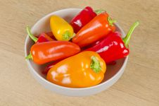 Bowl Of Colorful Sweet Gourmet Peppers Royalty Free Stock Photo