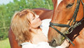 Free Portaits Of Cute Girl  With Her Horse Close Up Stock Images - 25681244
