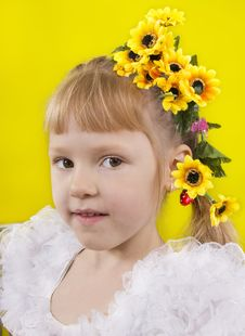 Free The Little Girl With Yellow Flowers In Hair. Stock Photo - 25685080