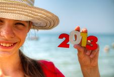 Free Teen Girl Holding Wooden Number  2013  Stock Photography - 25685112