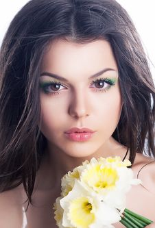 Free Beauty. Sensual Woman Face With Bouquet Of Flowers Stock Photo - 25688010