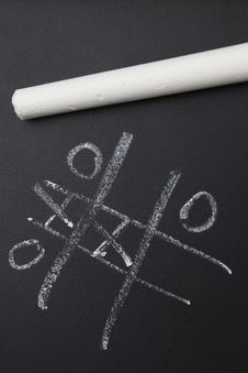 Free White Chalk With Nought And Crosses Game Stock Photos - 25689193