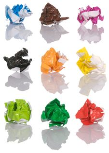 Free Set Of Crumpled Color Paper Stock Images - 25689944