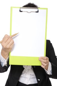 Free Woman Hold Clipboard Royalty Free Stock Photos - 25689988