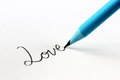 Free Blue Pencil And Cursive Word Love Stock Images - 25690084
