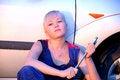 Free Beautiful  Woman Repairing The Car Stock Images - 25694984