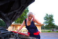 Free Beautiful  Woman Repairing The Car Royalty Free Stock Photos - 25695128