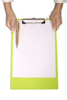 Free Woman Hold Clipboard Stock Image - 25690001