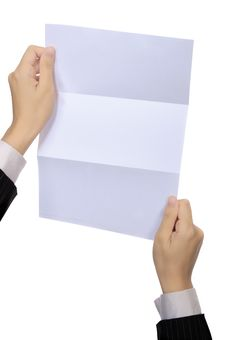 Woman Hold Blank Paper Stock Photos