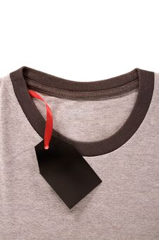 Price Tag On T-Shirt Royalty Free Stock Image