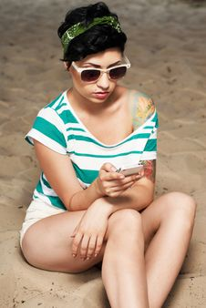 Adorable Girl With Tattoo Wearing Sunglasses Royalty Free Stock Photography