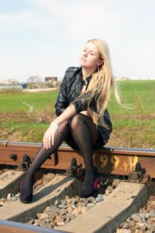 Girl On Railroad Royalty Free Stock Photography