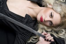 Portret Of A Women With Katana Royalty Free Stock Image