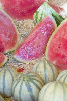 Free Melons Ready For Sale On The Market. Stock Photo - 25696260