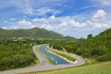 Free Road Along Reservoir Royalty Free Stock Photography - 25699037