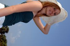 Free Pretty Teen In Sunhat Stock Images - 2573134