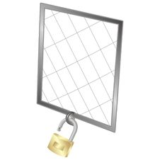 Cage Door With A Padlock Royalty Free Stock Images