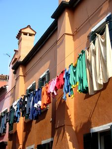 Free Colorful Clothes Burano Venice Royalty Free Stock Photo - 2578725