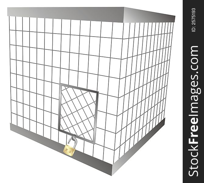 Cage with a padlock