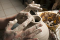 Free Hands Of A Potter, Creating An Earthen Jar Royalty Free Stock Images - 25705579