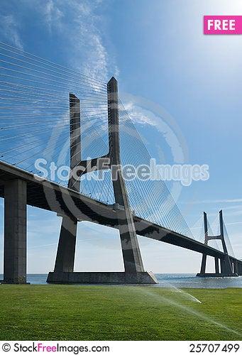 Free View Of Vasco Da Gama Bridge In Lisbon Royalty Free Stock Images - 25707499